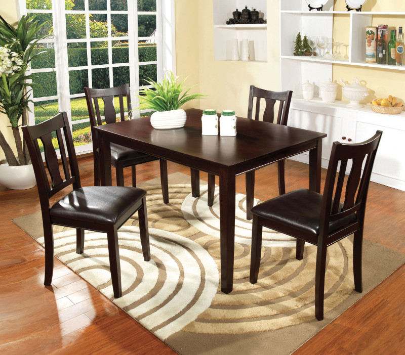 CM3888T-5pk 5 Pc. Northvale I collection contemporary style espresso finish wood dining table set with vinyl seat