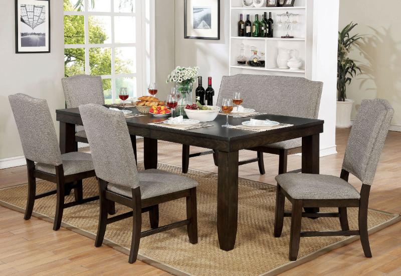 Furniture of america CM3911T-6pc 6 pc Teagan dark walnut finish wood dining table set