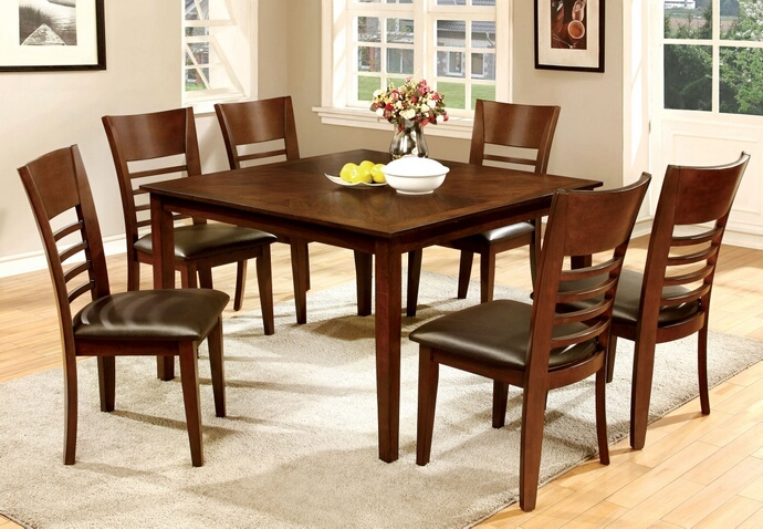 CM3916T 7 pc Hillsview I collection transitional style brown cherry finish wood square dining table set
