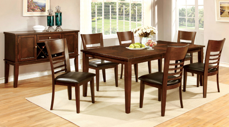 Furniture of america CM3916T-78-7PC 7 pc hillsview i brown cherry finish wood dining table set
