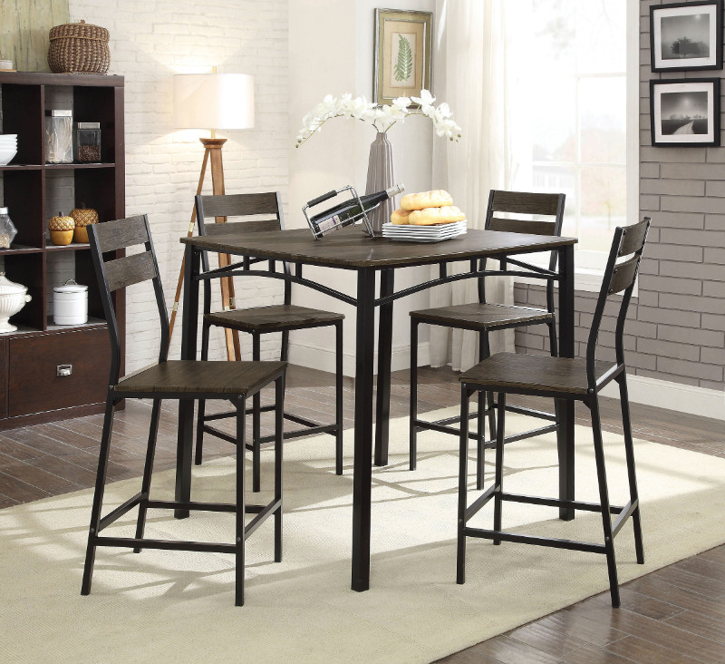 Furniture of america CM3920PT-5PK 5 pc Westport antique brown finish wood counter height dining table set