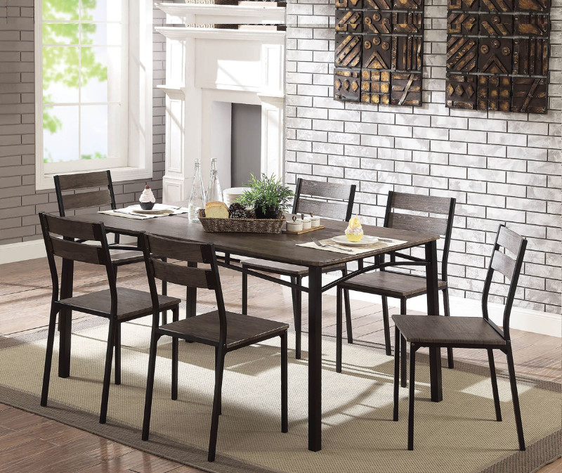 Furniture of america CM3920T-7PC 7 pc Westport antique brown finish wood dining table set