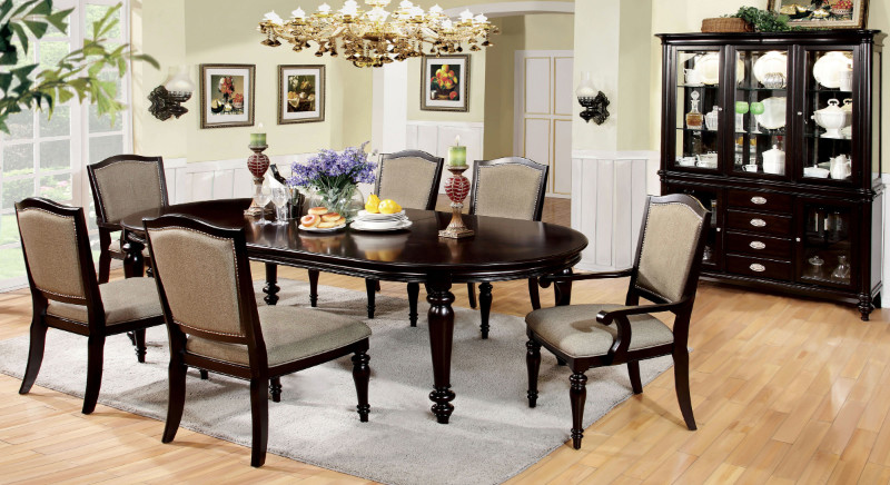 Furniture of america CM3970T-7PC 7 pc harrington dark walnut finish wood elegant formal style dining table set