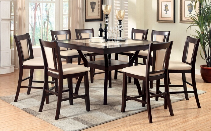 CM3984PT 7 pc Brent II collection modern style dark cherry finish wood counter height dining table set with faux marble inserts