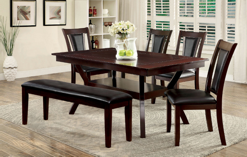 Furniture of america CM3984W-T-DK-6PC 6 pc brent cherry wood finish dining set with bench