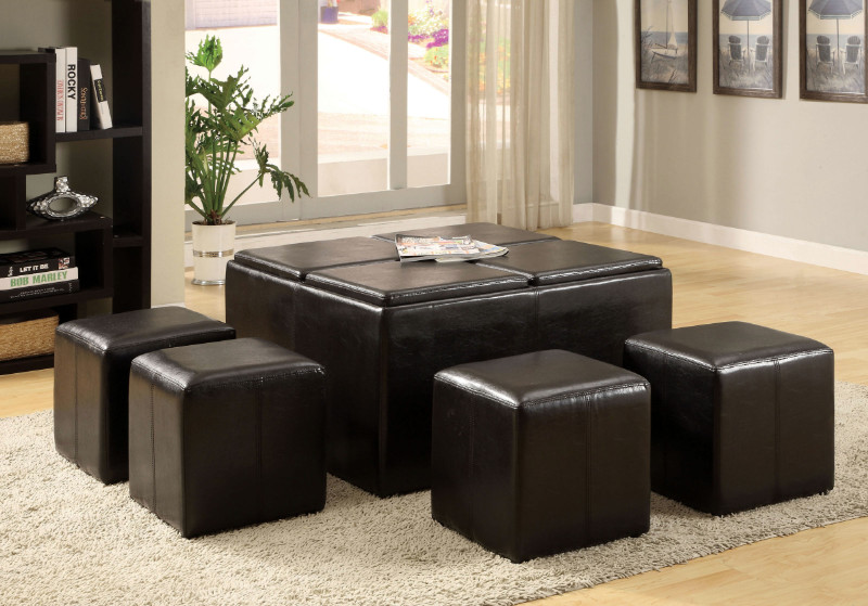 Furniture of america CM4046 Holloway espresso leatherette storage ottoman with nesting ottomans