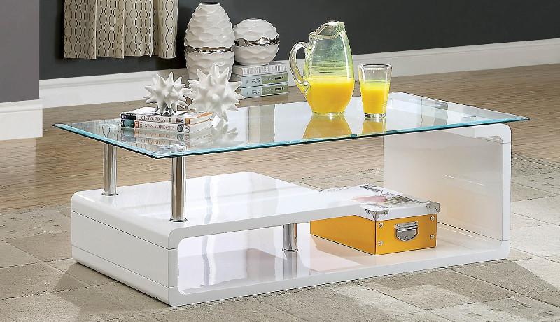Furniture of america CM4056WH-C Torkel white finish wood modern twist glass top coffee table