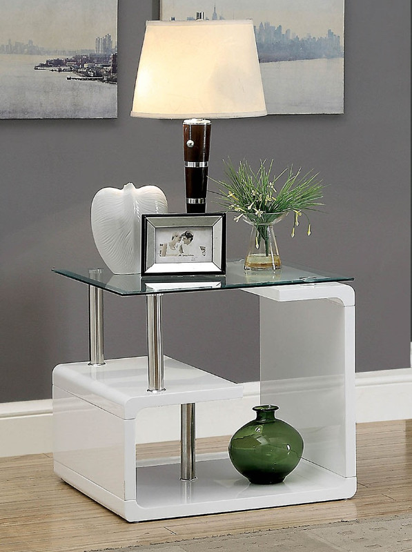 Furniture of america CM4056WH-E Torkel white finish wood modern twist glass top end table