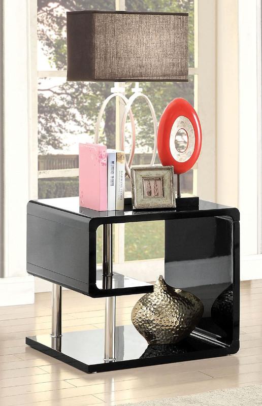 Furniture of america CM4057BK-E Ninove I black finish wood modern twist end table