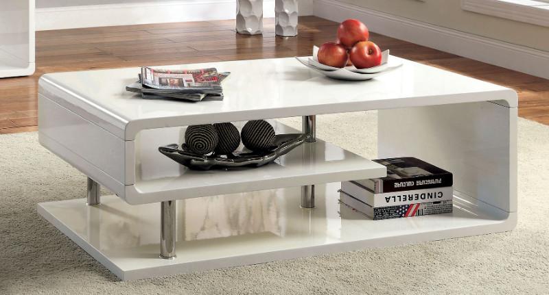 Furniture of america CM4057WH-C Ninove I white finish wood modern twist coffee table