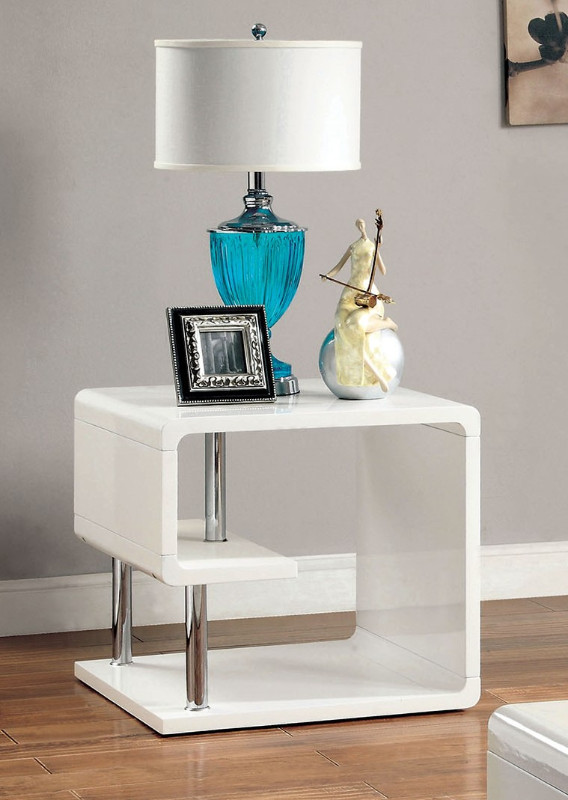 Furniture of america CM4057WH-E Ninove I white finish wood modern twist end table