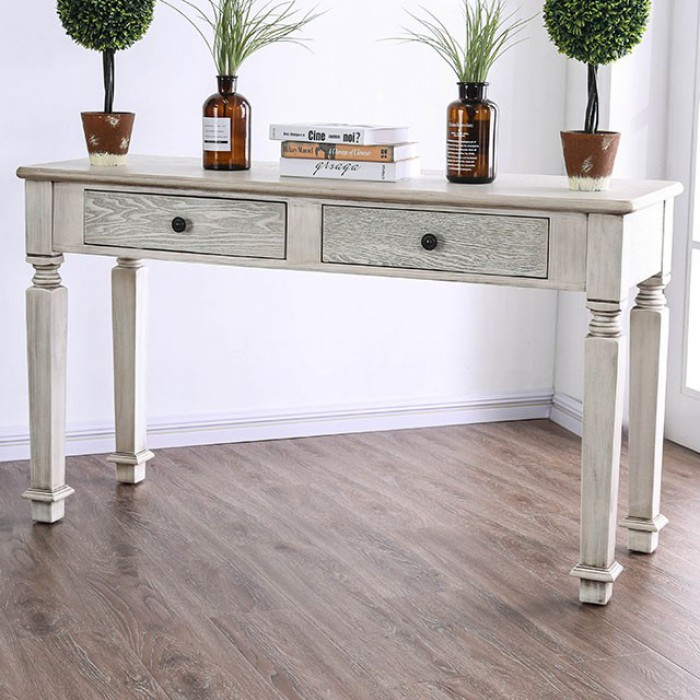 Furniture of america CM4089S Joliet antique white finish wood rustic style sofa table