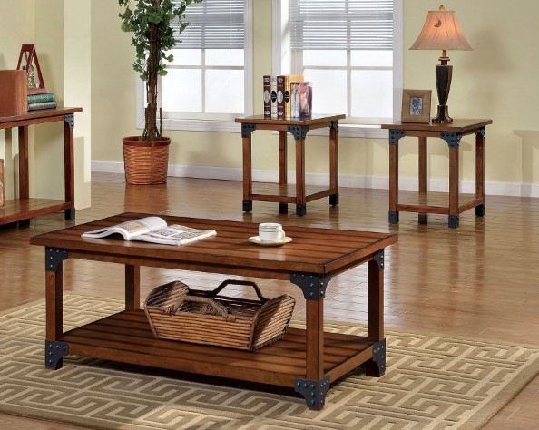 CM4102-3pk Bozeman collection rustic country style antique oak finish wood coffee and end table set with metal accents