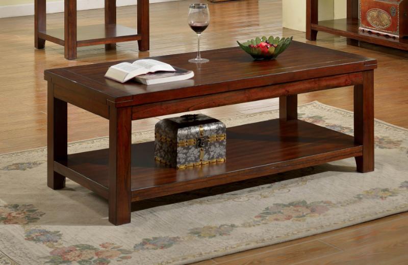 Furniture of america CM4107C Estell dark cherry finish wood coffee table