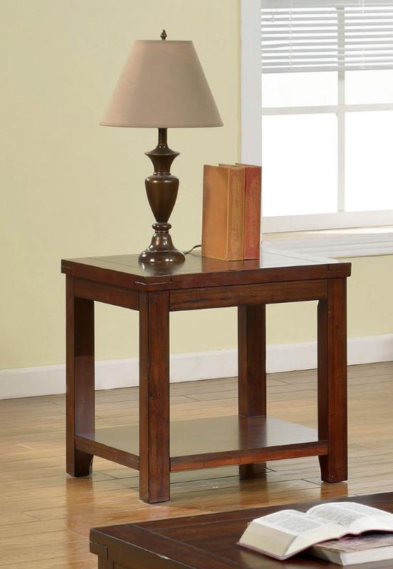 Furniture of america CM4107E Estell dark cherry finish wood end table