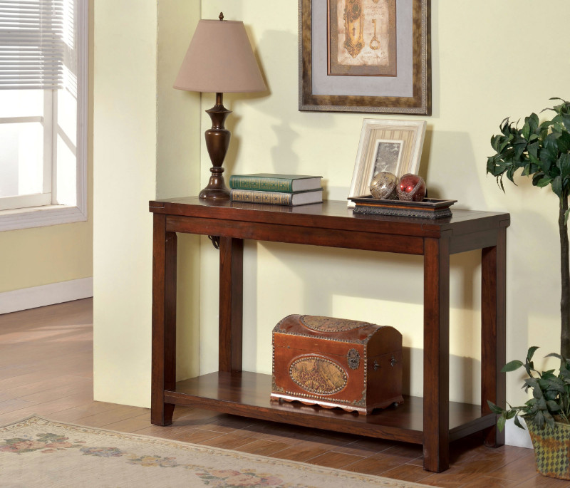 CM4107S Estell collection transitional styling dark cherry finish wood and sofa console entry table with lower shelf