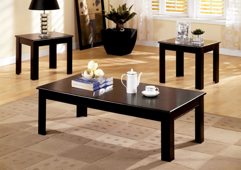 Furniture of america CM4168 3 pc town square i espresso wood finish coffee and end table set