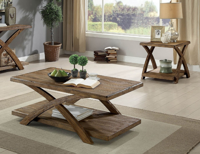 Furniture of america CM4178-3PK 3 pc Bryanna antique light oak finish wood coffee and end table set