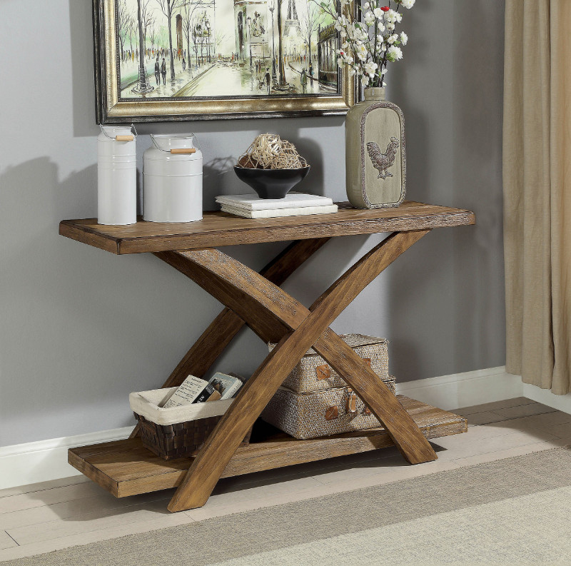 Furniture of america CM4178S Bryanna light oak finish wood sofa console entry table