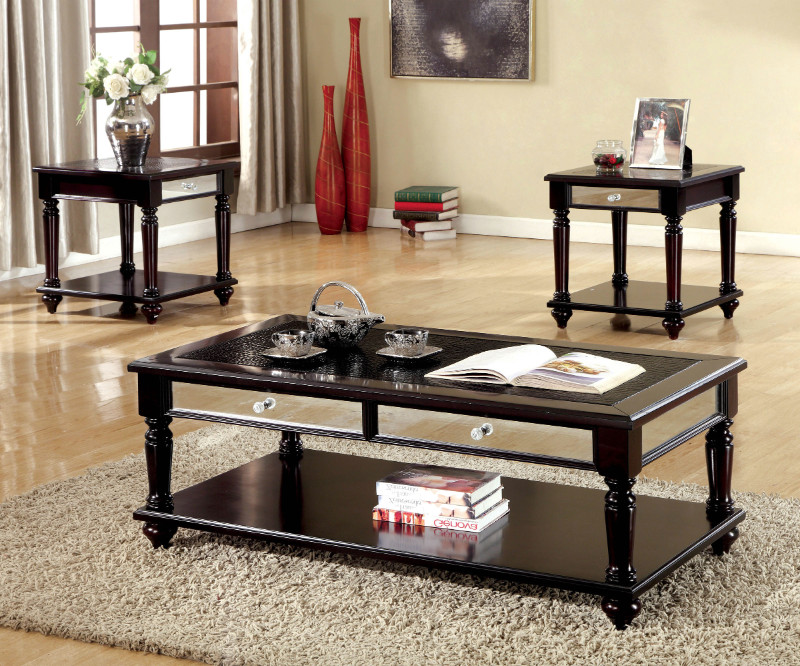 Furniture of america CM4242-3PK 3 pc Horace espresso finish wood coffee and end table set