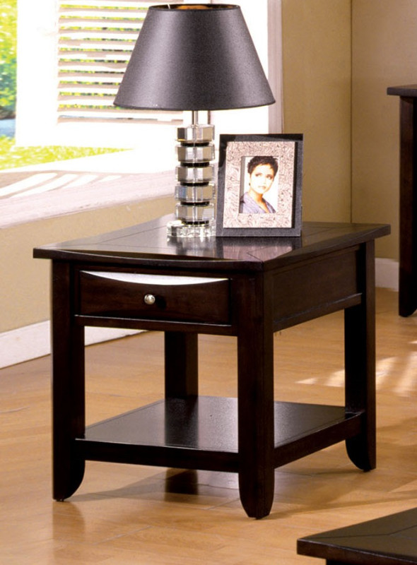 Furniture of america CM4265DK-E Baldwin espresso wood finish end table with drawers for extra storage