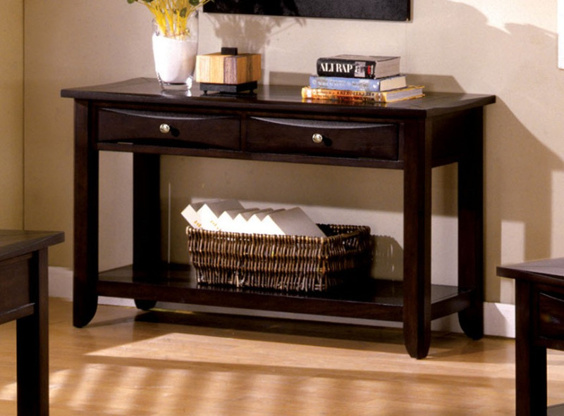 CM4265DK-S Baldwin Espresso Wood Finish Contemporary Style Sofa Table with Drawers For Extra Storage