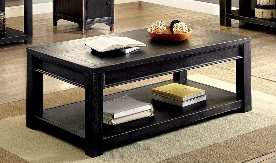 Cm4327c Meadow Antique Black Finish Wood Plank Style Coffee Table
