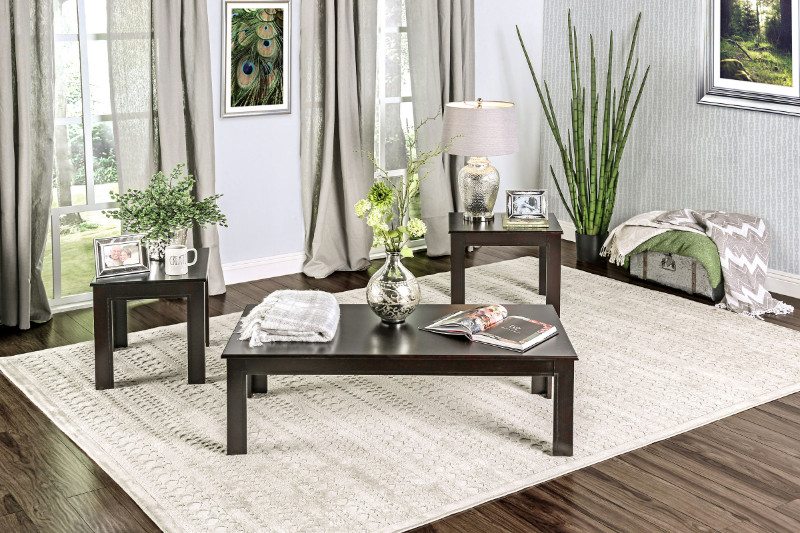 CM4329-3PK 3 Pc. Bay Square Contemporary Style Black Wood Finish Coffee Table Set