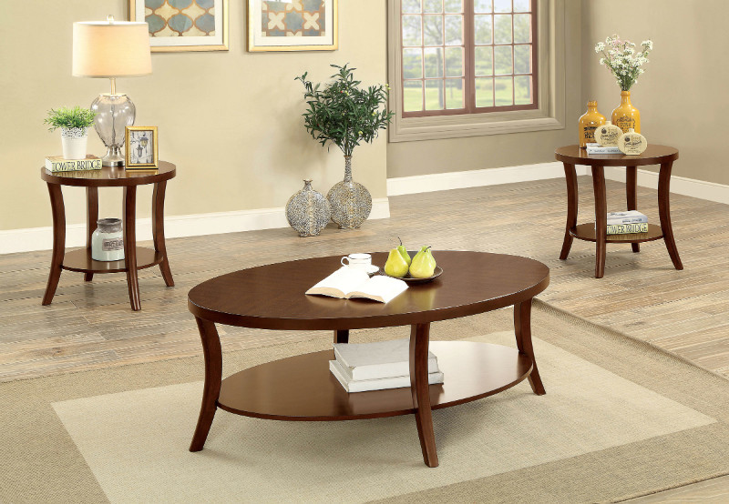 Furniture of america CM4334-3PK 3 pc Paola brown cherry finish wood coffee and end table set