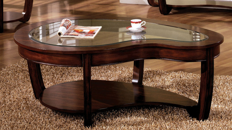 Furniture of america CM4336C Crystal falls dark cherry wood finish abnormity coffee table