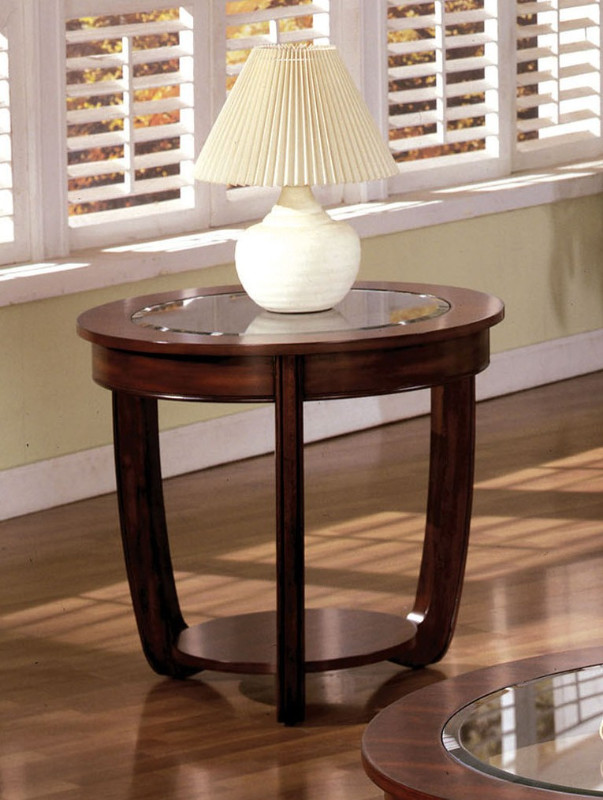 Furniture of america CM4336E Crystal falls dark cherry wood finish oval end table