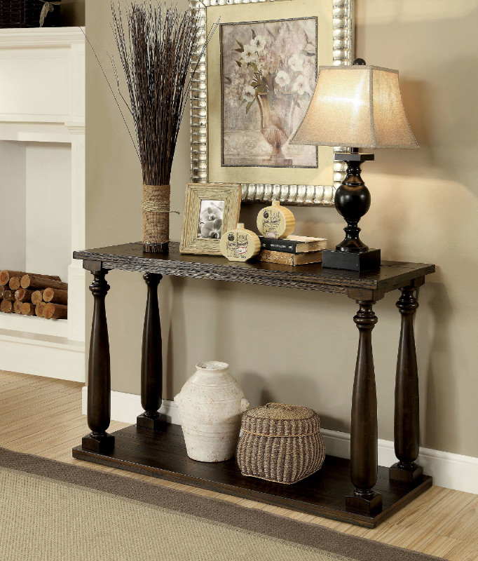 Furniture of america CM4420S Luan dark walnut finish wood sofa console entry table