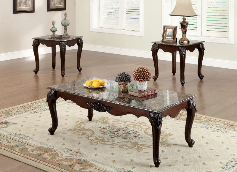 Furniture of america CM4423-3PK 3pk Colchester dark cherry finish wood coffee and end table set