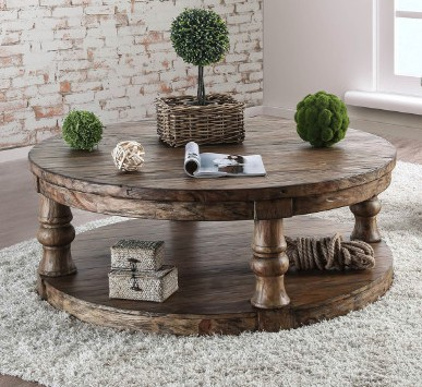 Cm4424a C Mika Antique Oak Finish Wood Round Coffee Table