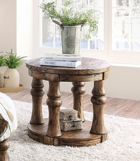 Furniture of america CM4424A-E Mika antique oak finish wood round end table