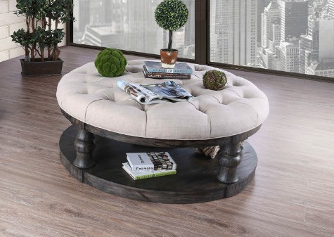 Furniture of america CM4424GY-F-C Mika antique gray finish wood round fabric top coffee table