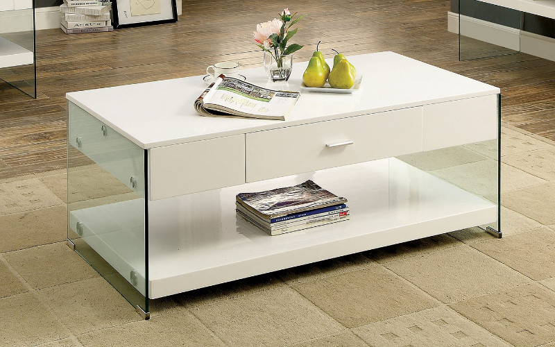 Furniture of america CM4451WH-C Raya white finish wood and glass coffee table
