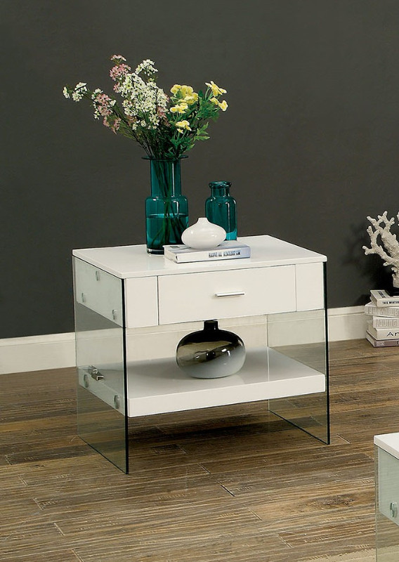 Furniture of america CM4451WH-E Raya white finish wood and glass end table