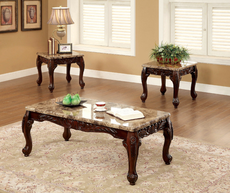 Furniture of america CM4487-3PK 3 pc Lechester dark oak finish wood coffee and end table set with faux marble top