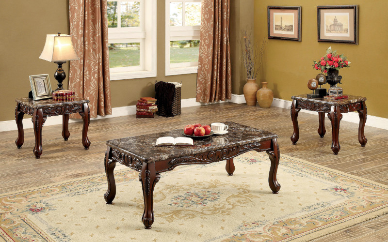 Furniture of america CM4487BR-3PK 3 pc Lechester dark oak finish wood coffee and end table set with faux marble top