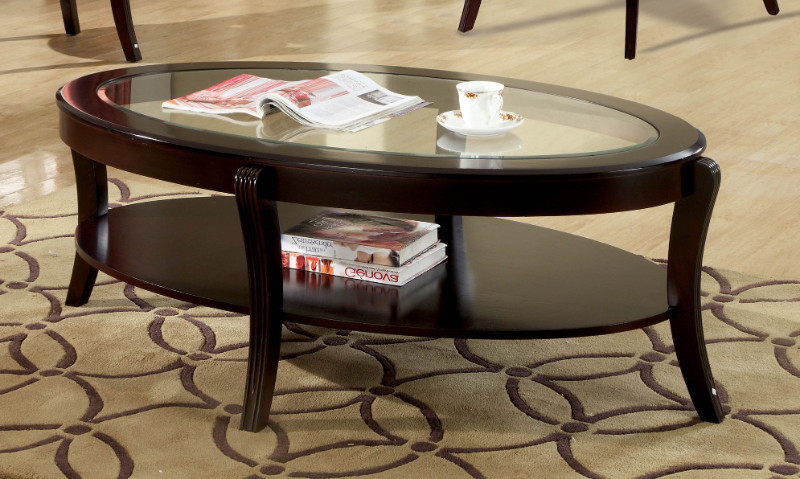 Furniture of america CM4488C Finley espresso finish wood beveled glass top coffee table