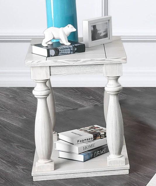 Furniture of america CM4520E Arlington antique white finish wood rustic style end table