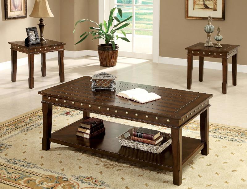 Furniture of america CM4630-3PK 3 pc Fenwick walnut finish wood coffee and end table set