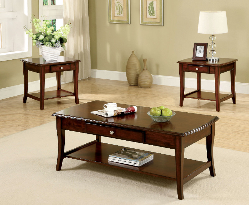 CM4702-3PK 3 Pc. Lincoln Park Transitional Style Dark Oak Wood Finish Coffee Table Set