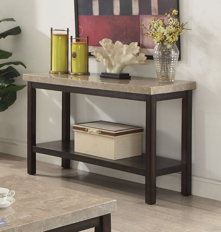 Cm4861s Calgary Dark Walnut Finish Wood Marble Top Sofa Console Entry Table