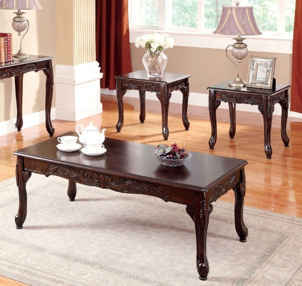Furniture of america CM4914CH-3PC 3 pc cheshire dark cherry finish wood coffee and end table set