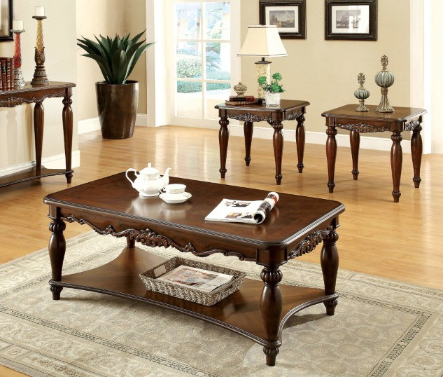 Furniture of america CM4915-3PK 3pk Bunbury classic styling cherry finish wood coffee and end table set