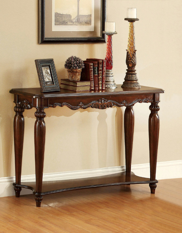 CM4915S Bunbury classic styling cherry finish wood sofa console entry table with intricate designs