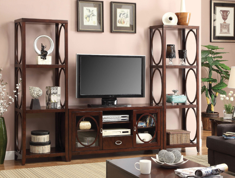 CM5051-TV-2PC 3 pc Melville contemporary style cherry finish wood entertainment center wall unit with oval wood accents