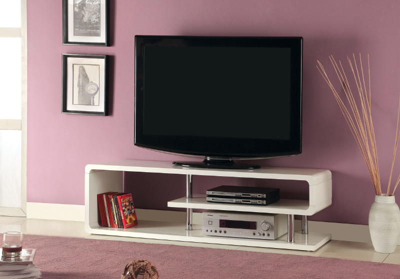 Furniture of america CM5057-TV Ninove ii white high gloss finish and chrome accents tv stand